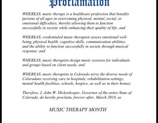 March is Music Therapy Month in Colorado!